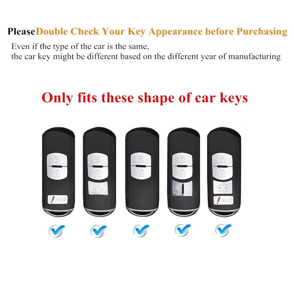 Purple Mofei for Mazda Key Fob Case Shell Cover TPU Full Protector Holder with Key Chain Compatible with Mazda 3 6 CX-5 CX-7 CX-9 MX-5 Speed3 Miata Smart Key Remote Keyless Entry