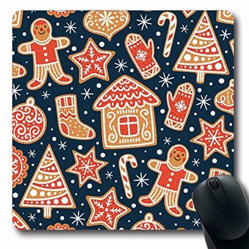 Ahawoso Mousepads for Computers Gingerbread Childish Winter Patterns Cookies Awesome Food Xmas Holidays Dessert Scandinavian Bakery Oblong Shape 7.9 x 9.5 Inches Non-Slip Oblong Gaming Mouse ()