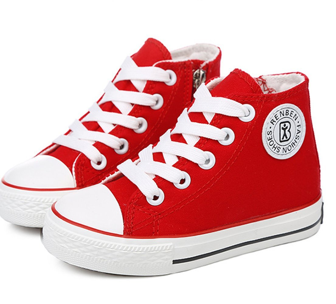 VECJUNIA Girls Classic Double Eyelets Lace-Up Zipper High-Top Canvas Sneakers Red 12.5 M US Little Kid