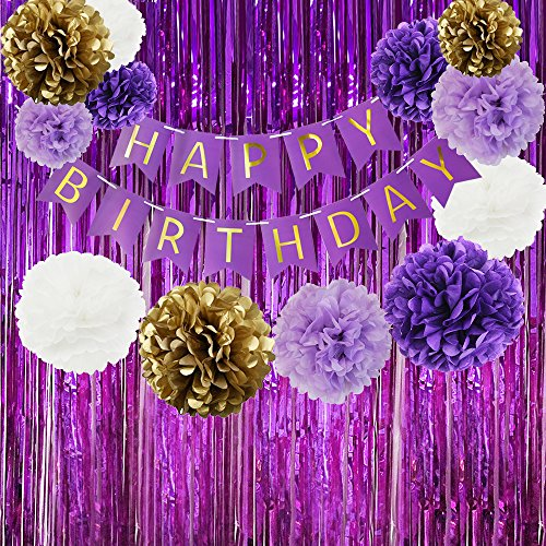 purple and white party supplies - 4