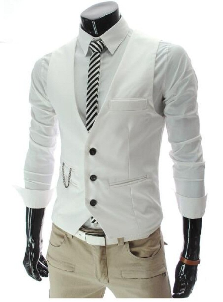 PXS Vest V-Neck Sleeveless Slim Fit Jacket Men Business Waistcoat (White, XL)