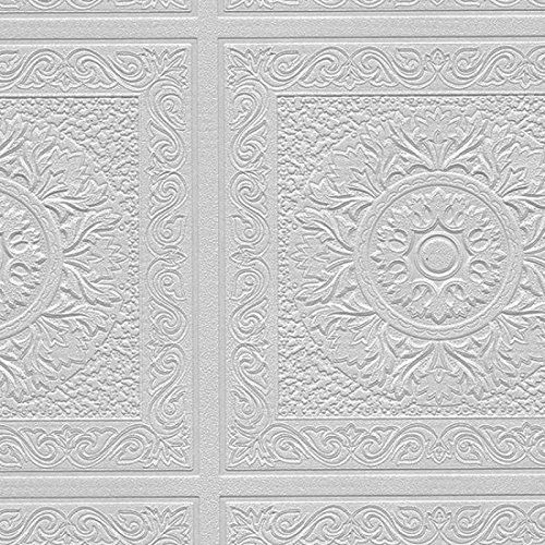 Norwall Paintable Wallpaper Renaissance Ceiling Tile Raised White Textured 48931