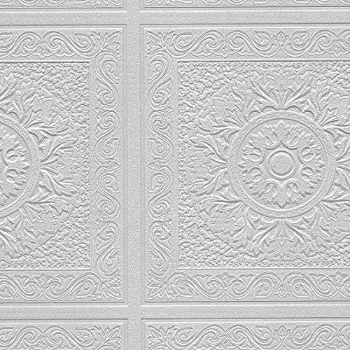 Norwall Kitchen (Norwall Paintable Wallpaper Renaissance Ceiling Tile Raised White Textured 48931)