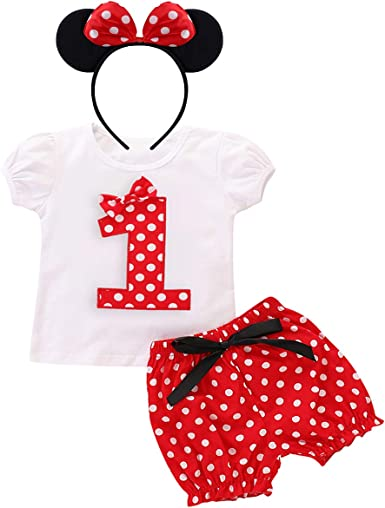 Baby Girls 1st First Birthday Cake Smash Tutu Top Minnie Mouse Party Photo Red