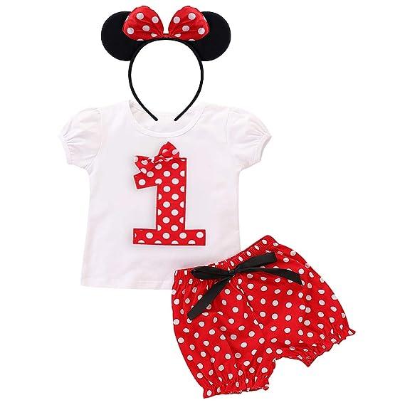 FYMNSI Infantil Bebé Niña 1 2 3 4 5 Años Cumpleaños 3 Piezas Counjunto de Ropa Camiseta de Manga Corta + Pantalones Cortos de Lunares Rojos + Diadema ...