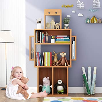 Little Tree 4 Shelf Kids Bookshelf Storage Modern Wood Bookcase