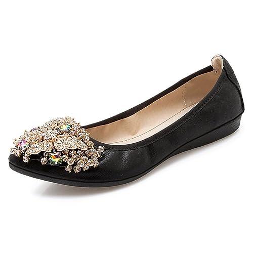 Meeshine Women s Wedding Flats Rhinestone Slip On Foldable Ballet Shoes  Black ... 748e784cfc3e