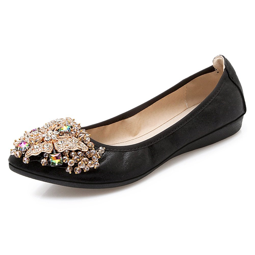 Meeshine Women's Wedding Flats Rhinestone Slip On Foldable Ballet Shoes Black 8.5 US