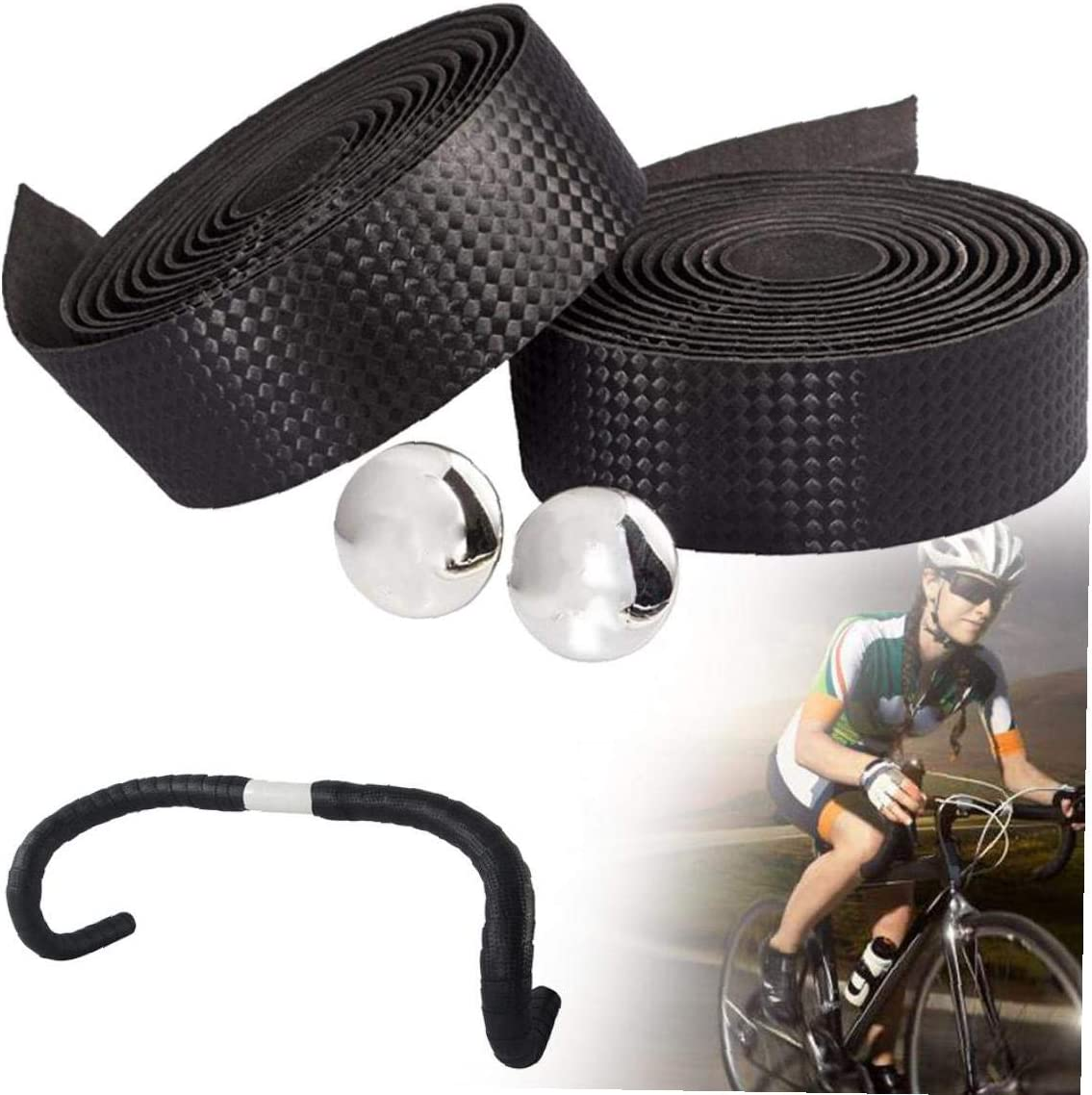 JRXyDfxn Cintas 1 par de Fibra de Carbono Manillar de la Bicicleta Correa Anti de la resbalón Esponja Cinturón de Bicicletas Cinta de Manillar Bicicleta de Carretera Bar con Barra de enchufes (