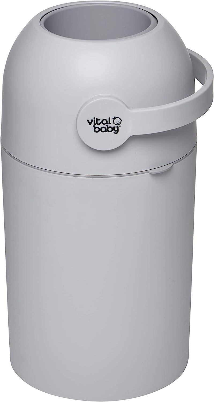 Vital Baby HYGIENE - Sistema de eliminación de olores para pañales, sin rellenos, sin olor, color gris, con capacidad para hasta 25 pañales, apto para pañales desechables y reutilizables