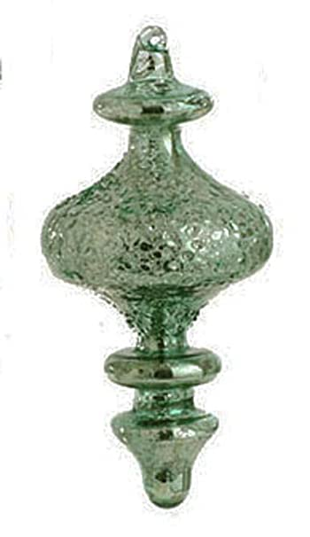 Christmas Tablescape Decor - Antiqued Green Blue Mercury Glass Finial Christmas Ornament