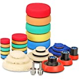 SPTA 29pcs Drill Buffing Pad Detail Polishing Pad Mix Size Kit with 5/8-11 Thread Backing pad & Adapters for Car Sanding, Pol