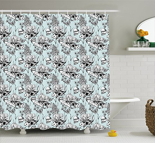 Ambesonne Shabby Chic Shower Curtain, Vintage Monochrome Pond Water Flowers Lily Carp Snail Twigs Artwork, Fabric Bathroom Decor Set with Hooks, 84 Inches Extra Long, Baby Blue Black (Monochrome Twigs)
