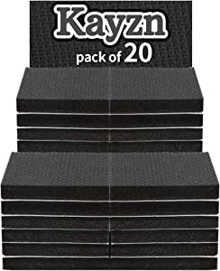 """Kayzn 20 pcs 2"""" Furniture Pads Non Slip Black Thick Rubber Square Foot Pads Self-Stick Premium Furniture Grippers and Floor Protectors"""