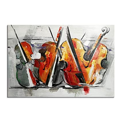100% pintado a mano pintura al óleo guitarra arte de la pared para la habitación