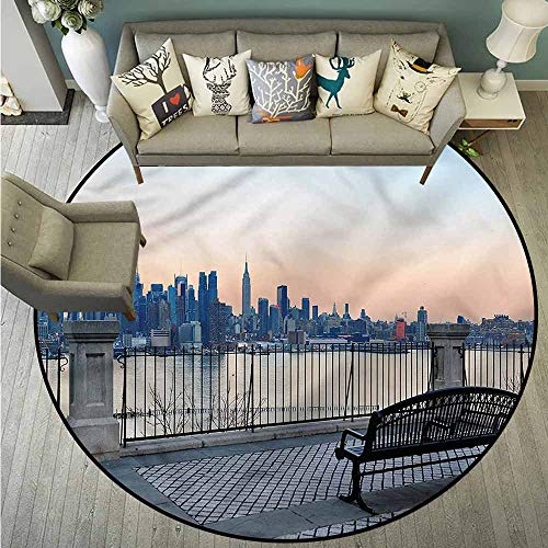 - Living Room Area Round Rugs,Landscape,Bench in New York City,Super Absorbs Mud,2'11