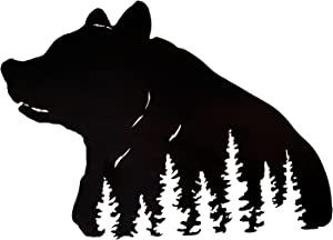 Bear Decor Metal Wall Art with Pine Tree Design, 25-inches