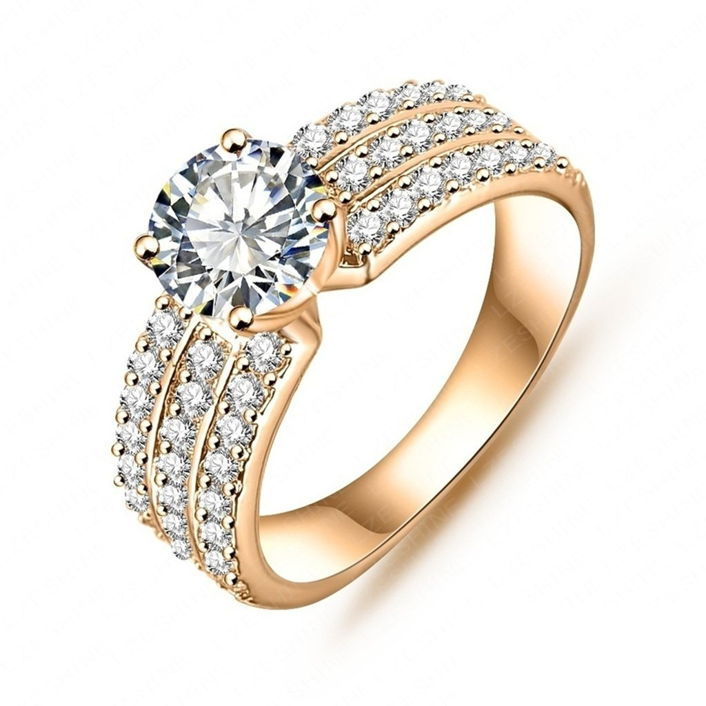 Bishilin 18K Gold Plated Fashion Womens Rings AA Swiss Cubic Zirconia Inlaid Bridal Ring Yellow Size 7
