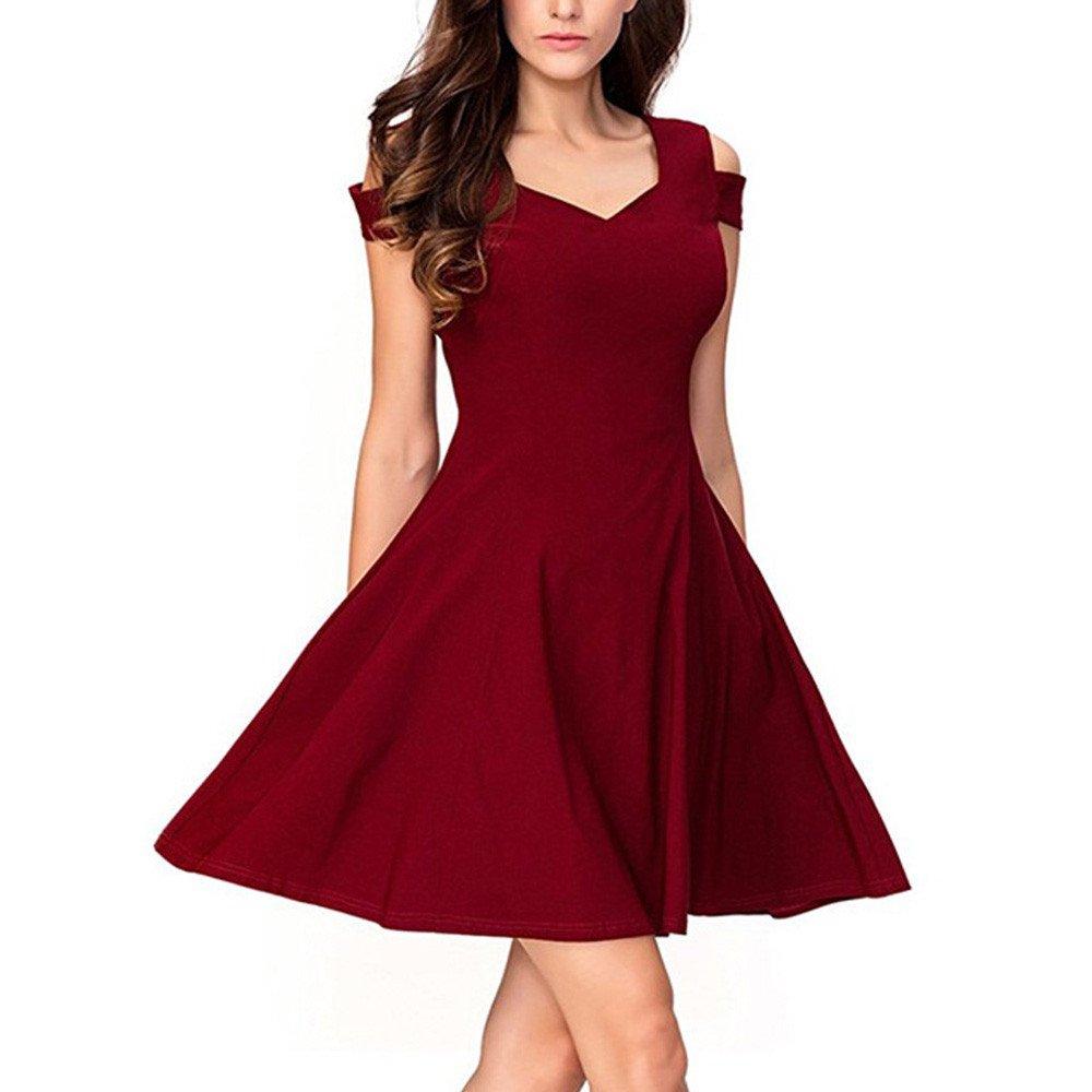 ZZXIAN Damen Elegant Sommerkleider Solid Ärmellos Schulterfrei Minikleid Kurz Faltenkleid Abendkleid Partykleid Ballkleid Rockabilly Kleid