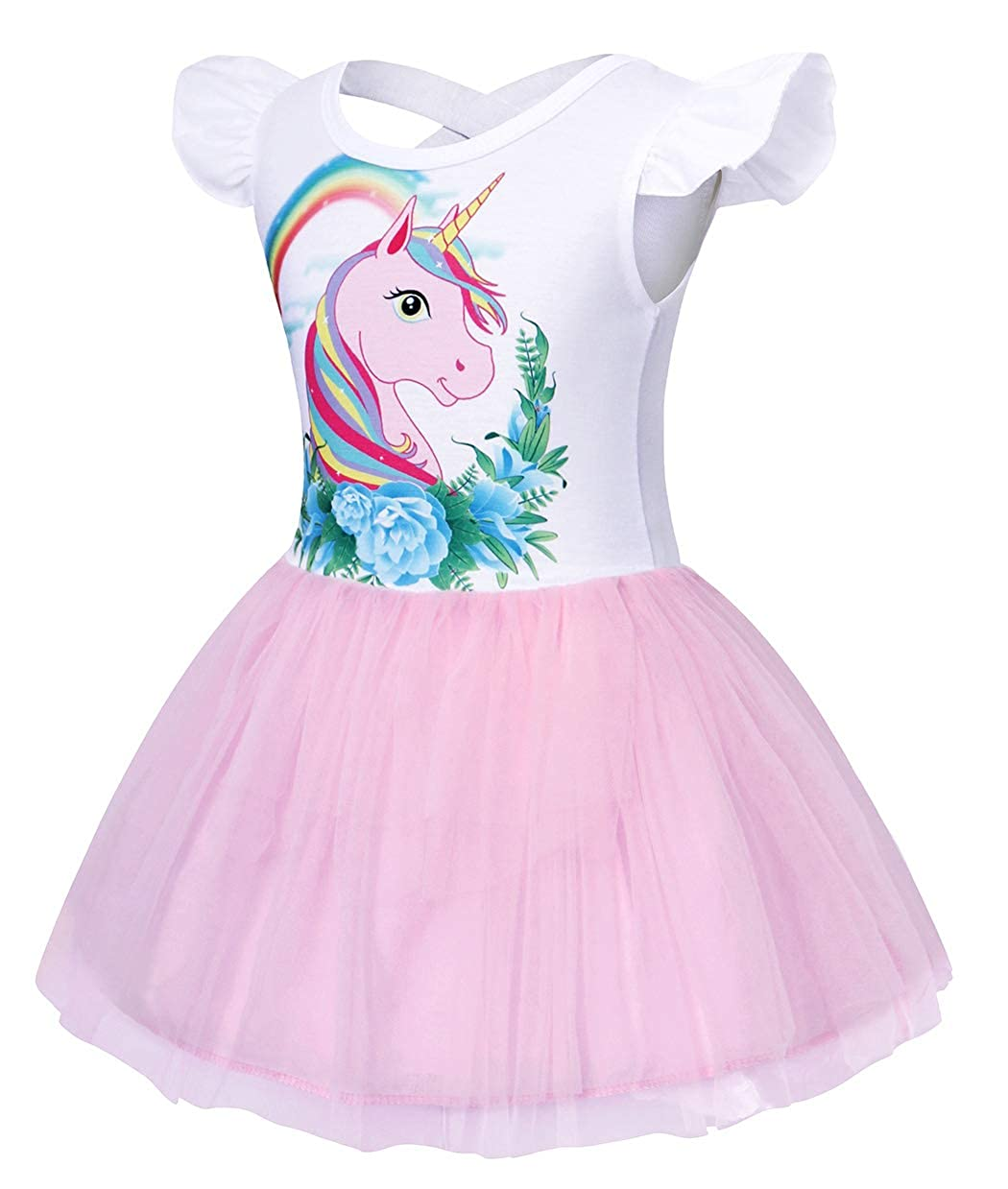 Cotrio Little Girls Unicorn Tulle Dress Pageant Evening Ball Gowns Flower Party Tutu Dresses