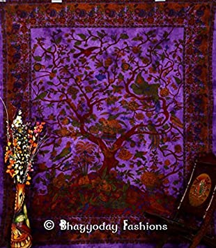Tree of Life Tapestry Purple Wall Hanging Hippie Throw White Bedspread Art Decor