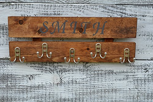 Coat Rack Rustic Wood 5 Hooks Chestnut Stain Wall Mounted Coat - Metal Chestnut Wall