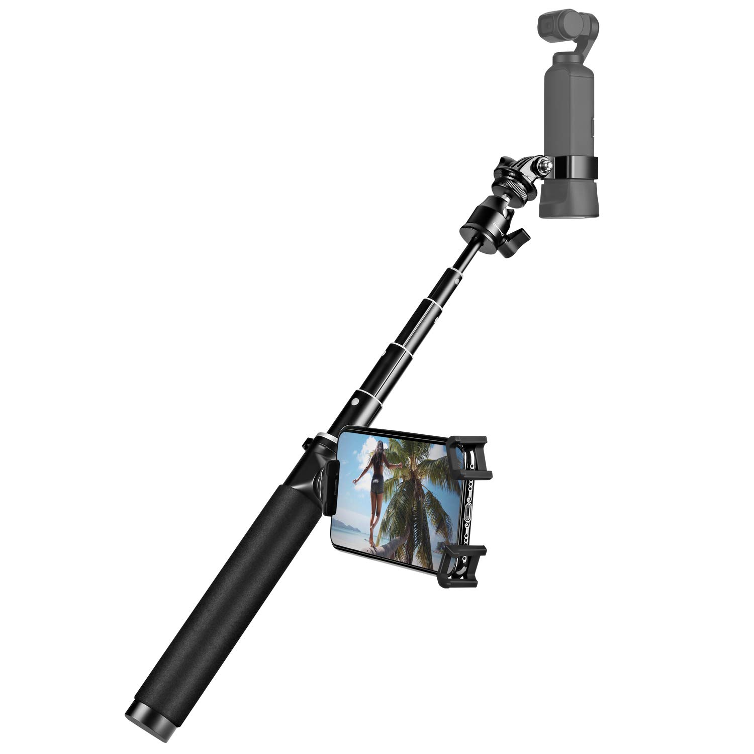 Extension Rod Stick & Phone Holder + Mini Tripod for DJI Osmo Pocket Works with Wireless Module