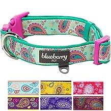 "Blueberry Pet Soft & Comfy Paisley Flower Print Neoprene Padded Dog Collar, Emerald Green, Medium, Neck 14.5""-20"", Adjustable Collars for Dogs"
