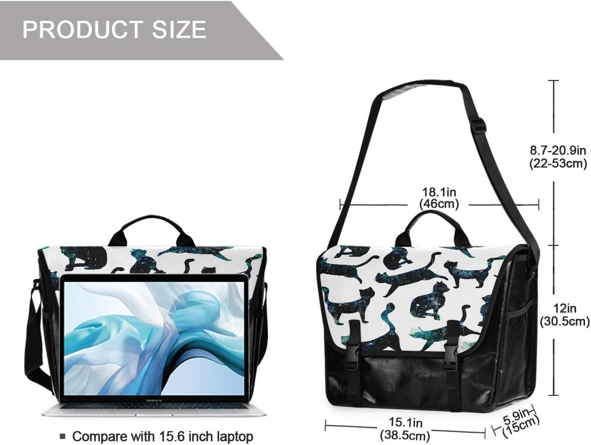 Unisex 15.6 Inch Laptop Shoulder Bag Retro Satchel Handbag Business Briefcase Star Pet Cat Canvas Postman Bag