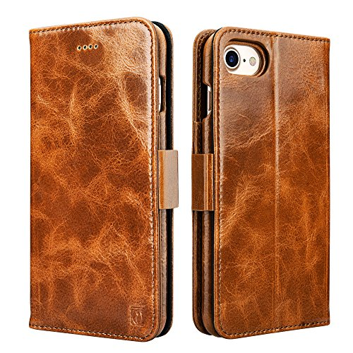 icarercase iPhone 8 Case iPhone 7 Leather Case, Oil Wax Genuine Leather Detachable 2 in 1 Case, Wallet Folio Flip and Back Cover Design with Magnetic Strap for iPhone 7/8 4.7 inch (Brown)