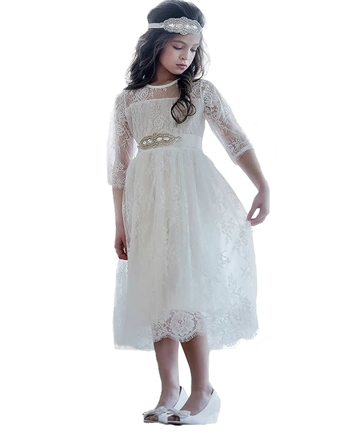 299148c9ab3 ... Line Tea Length First Communion Gown Flower Girl Dresses with Belt.  Wholesale Price 49.99 -  58.99 1.Material Lace. Sizes 12