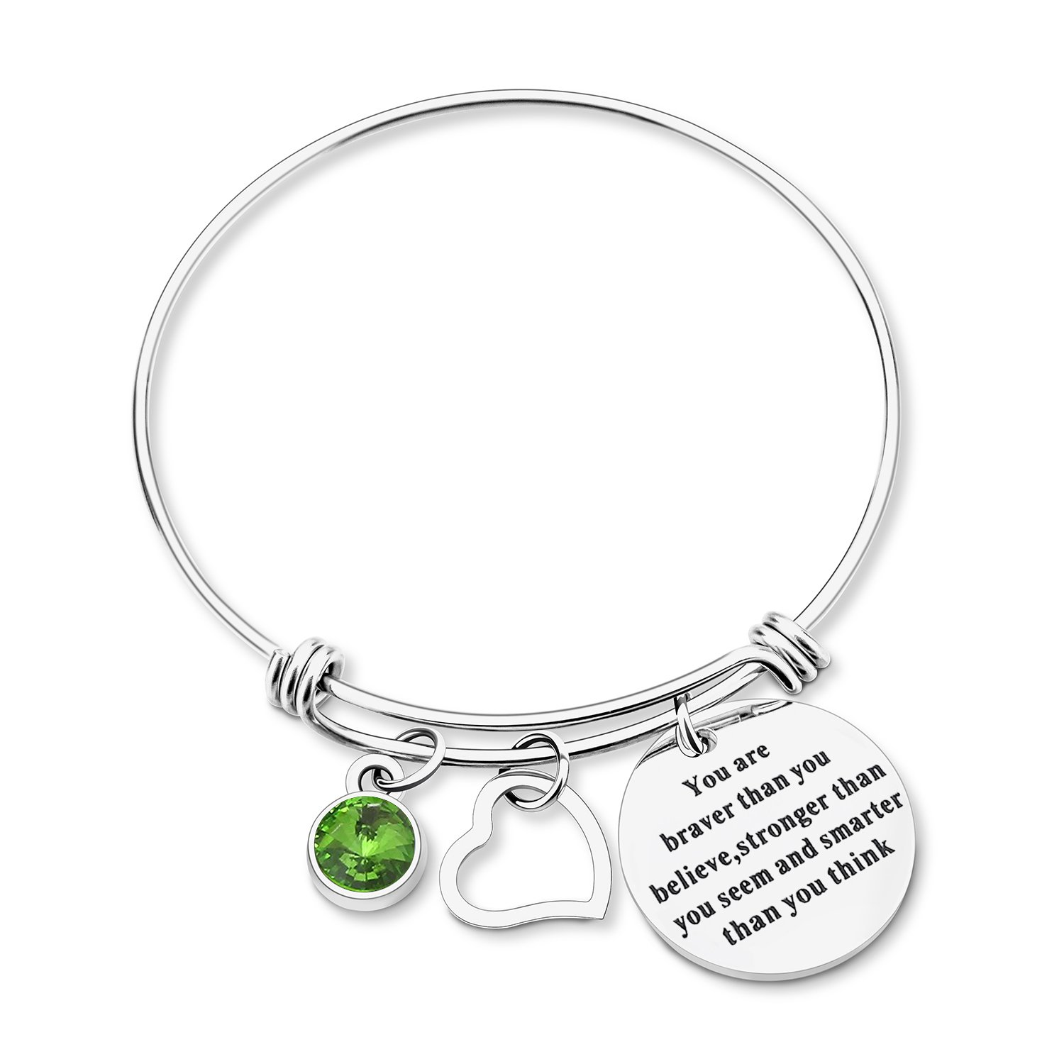 Yoomarket ''You are braver than you believe Inspirational Birthstone and Heart Adjustable Charm Bangle Bracelet Stainless Steel Womens Jewelry Birthday Girls Gifts(08-Aug.-Peridot) by Yoomarket (Image #3)