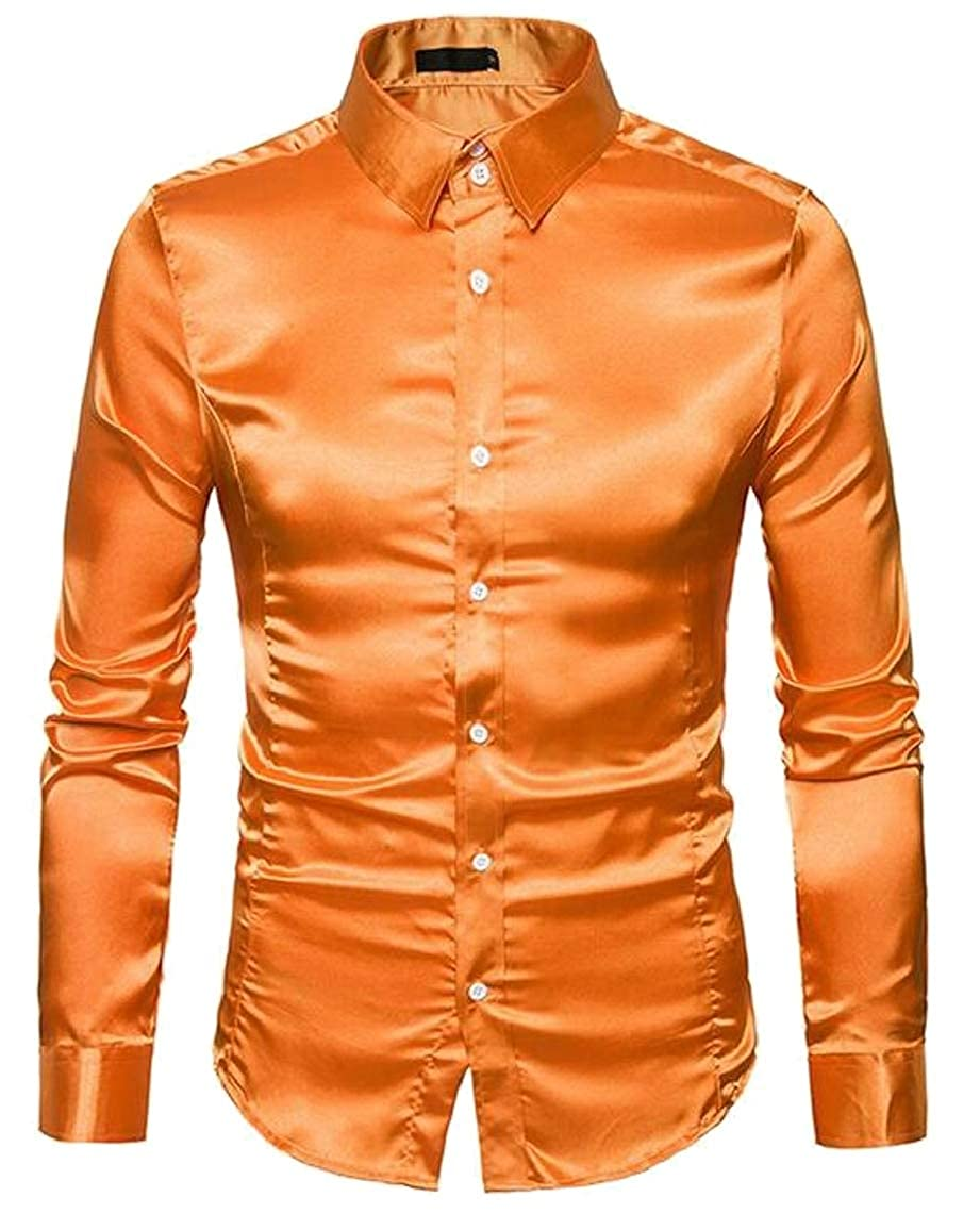 Yayu Mens Slim-Fit Long Sleeve Solid Dance Prom Dress Shirt