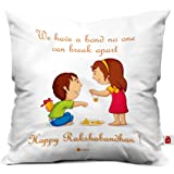 Indigifts Micro Fibre and Satin Bond That Never Break Quote Printed Square Cushion Cover with Filler - White