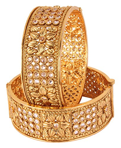 Traditional Bollywood Fashion Gold Plated Polki Indian Bangle Ethnic Jewelry (2.8)