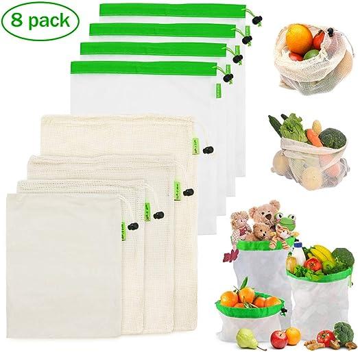 LIVEHITOP Bolsas Reutilizables Compra Malla – 8 Pieza Bolsa Fruta y Vegetales Algodón Lavable Ecológicas Transpirable para Comida Juguetes: Amazon.es: Hogar