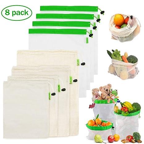 MAIKEHIGH Bolsas Reutilizables Compra Malla – 8 Pieza Bolsa Fruta y Vegetales Algodón Lavable Ecológicas Transpirable para Comida Juguetes
