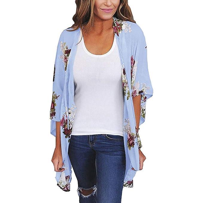 Zarupeng Las Mujeres gasas Chal Flojo Estampado Kimono Cardigan Top Cover Up Blusa Beachwear