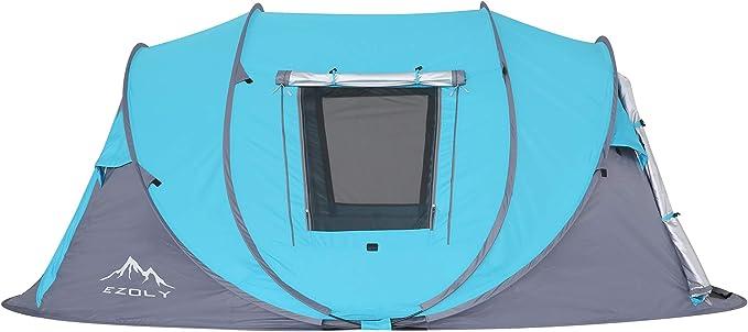 Abri Soleil Imperm/¨/¦Able Bleu /¡/ EZOLY 3-4 Personne Randonn/¨/¦e en Plein Air Facile Pop Up Camping Tente Automatique Instantan/¨/¦e Tentes Familiales Installation