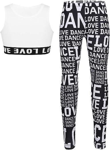 Doomiva Kids Girls Sleeveless Letter Printed Sports Jazz Hip Hop Dance Crop Top Athletics Workout Tee Shirt Activewear