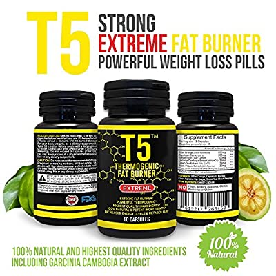 Strong T5 FAT BURNER Extreme - Higher Energy Levels and Metabolism - 100% Natural and Safe Ingredients - Powerful WEIGHT LOSS Pills - Appetite Suppression Supplement - 1500mg Per Serving, 60 Capsules