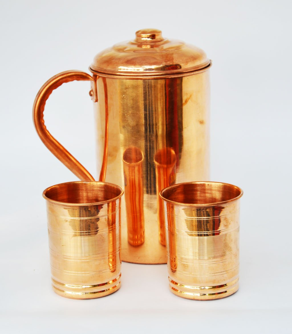 Copper Water4 Pitcher Jug & 8 Glasses Set for Drinking Water Indian Ayurveda By Dorpmarket