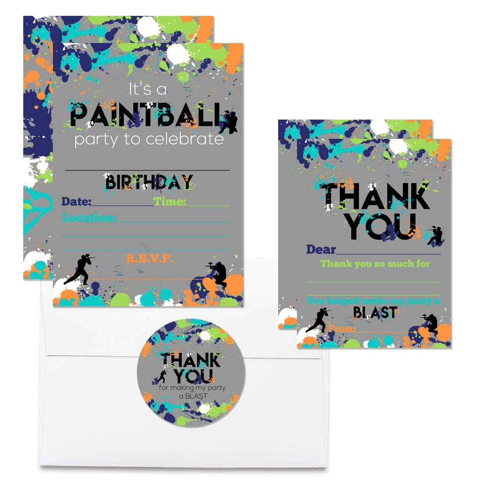 Deluxe Paintball Birthday Party Bundle, Includes 20 Each of 5''x7'' Fill-in Invitation Cards, Thank You Cards, Thank You Party Favor Stickers and Envelopes