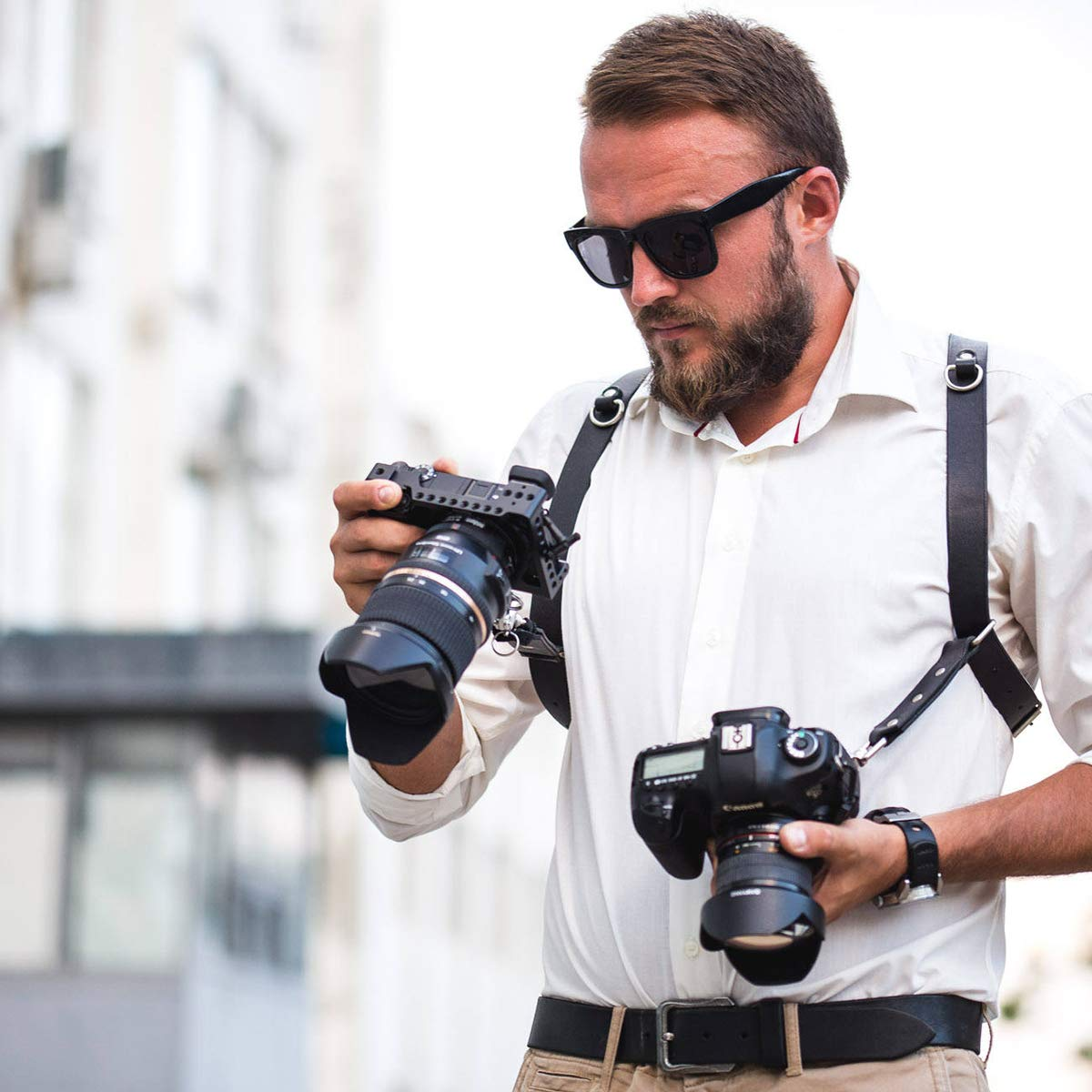 Homelex - Correa doble ajustable para cámara, de piel sintética ...