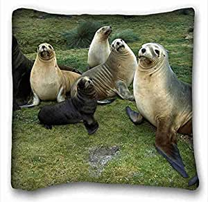 Custom Cotton & Polyester Soft Animal Custom Cotton & Polyester Soft Rectangle Pillow Case Cover 16x16 inches (One Side) suitable for California King-bed
