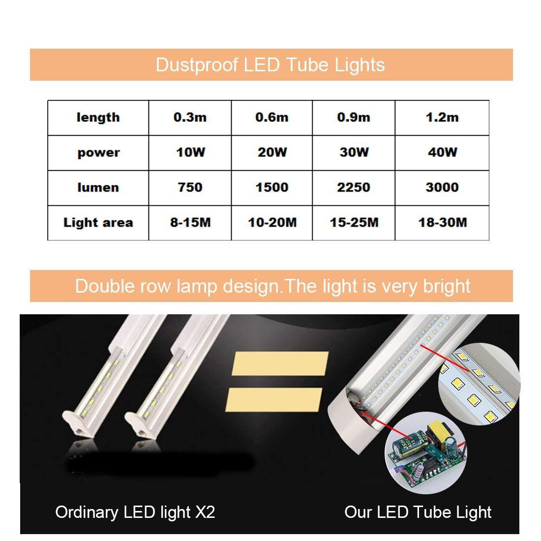 LED Tube Light 1FT Batten Light Fixture Tube Lamp Super Bright 6500K Daylight White Fluorescent Tube Workshop Lighting for Bathroom Balcony Hallway Living Room 4pcs