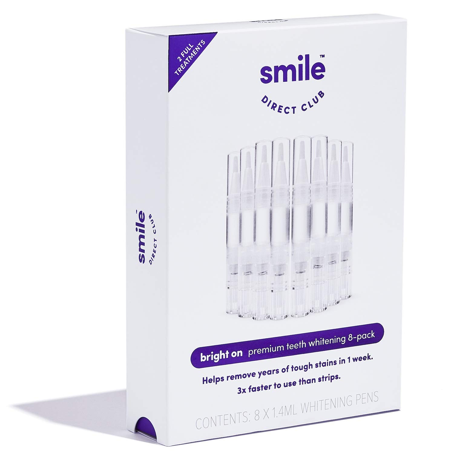 bright on Teeth Whitening  8 Premium Hydrogen Peroxide Whitening Pens Brighten 3x Faster Than Strips