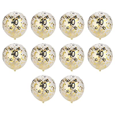 10pcs 30 40 50 Número Globos de Papel de Oro Confeti látex Globo Redondo decoración para la Fiesta de cumpleaños(Número40): Hogar