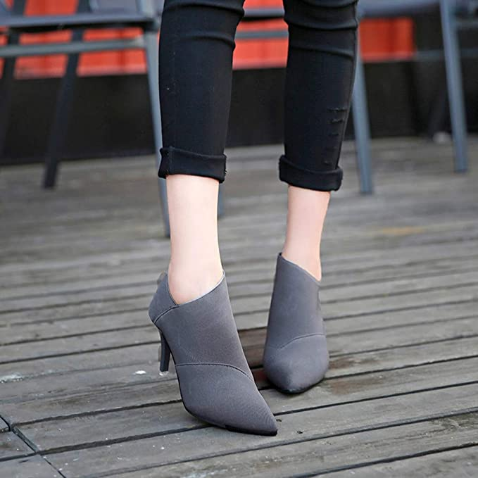 Amazon Com Gyoume High Heel Lady Ankle Boots Shoes Women Black