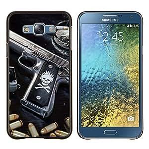 "Be-Star Único Patrón Plástico Duro Fundas Cover Cubre Hard Case Cover Para Samsung Galaxy E7 / SM-E700 ( Cráneo Killer gangsters Pistola y puntos negros"" )"